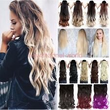 Real thick 3/4 Full Head Clip In Hair Extensions Straight Wavy as human hair pb8
