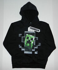 Official Minecraft Boys Creeper Inside Pull Over Hoodie, Black