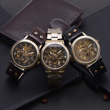 Gents Vintage Leather Stainless Wristwatch Skeleton Automatic Mechanical Watch