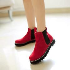 Womens Suede Ankle Boots Chelsea British Style Platform New Elastic