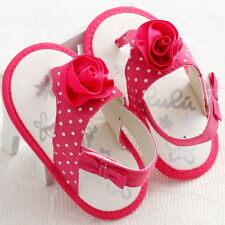 Lovely Princess Toddler Girls Soft Sole Sandal Rose Flower Baby Shoes Pink