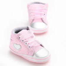 Cute Heart Infant Toddler Girls Soft Sole Cotton Lace Casual Baby Shoes 0-18m
