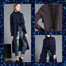 New Navy Maxi Duster Ribbed Cardigan Sweater Lace Up Back Women Junior Sz S/M/L