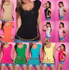 Womens New Sexy V Neck T Shirt Top with Rhinestones and Cutouts Size 6 8 10 12