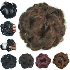 Clip In Wave Curly Combs Hair Bun Flower Updo Cover Chignon Hair Pieces Dia 14cm