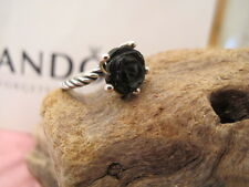 Authentic PANDORA silver  BLACK ONYX ROSE RING ALE 925 190843on