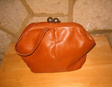 Vintage Ladies Small Real Soft Tan Leather Art Deco Hand Bag Evening Bag