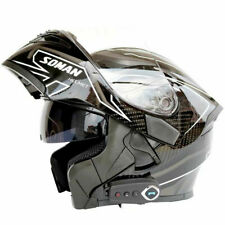 Motorcycle Motor Cross Bluetooth Helmet Dual Visor Flip Up Black Full Face