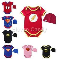 Super Hero Baby Boys Girls Toddler Romper Jumpsuit Hat Halloween Costume Outfits