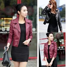 Vogue Womens PU Leather Coat Slim Motorcycle PU Leather Outwear Jacket Plus Size