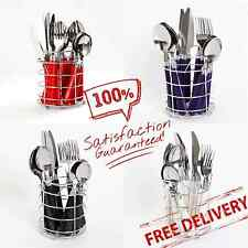 16-Piece Flatware Set with Wire Caddy Stainless Steel Gibson Home Sensations II