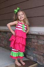 NWT Pink Striped w/Green Ruffle Top and Double Ruffle Capri Set by Smocked Shop!