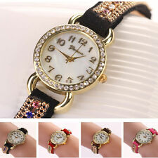 Fashion Womens Ladies Crystal Leather Strap Analog Quartz Wrist Watch Bracelet