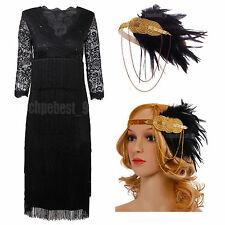 Ladies Black 1920s Flapper Dress Charleston Gatsby 20s Girl Sequin Costumes 8-20