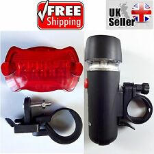 5 LED Mountain Bike Bicycle Cycle White Head Light Red Rear Safety Warning Flash