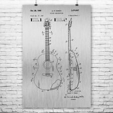 Acoustic Guitar Poster Patent Art Print Gift Player Guitarist Music Musician
