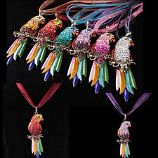 Crystal Rhinestone Parrot Pendant Necklace Sweater Chain Full Colorful Animal