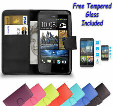 Wallet Flip Book Leather Cover Case Holder For HTC Desire 310 + Tempered Glass