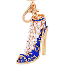 Enamel Lady Handbag Keychain Crystal Golden High Heeled Shoes Key Ring