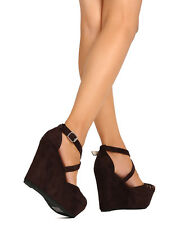 New Women Kayleen Domingo-8 Faux Suede Peep Toe Cut Out Platform Wedge Sandal