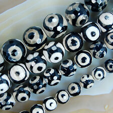 Faceted Spot Tibetan Mystical Old Agate Eye Gemstone Beads 8,10,12,14mm PickSize