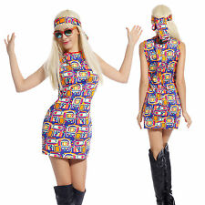 Ladies 60s 70s Groovy Flower Retro Go Go Girl Hippy Mini Fancy Dress Costume M