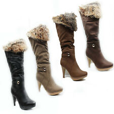 WOMENS LADIES PLATFORM KNEE HIGH FOLD OVER CUFF HIGH HEEL BOOTS SHOES SIZE 3-8