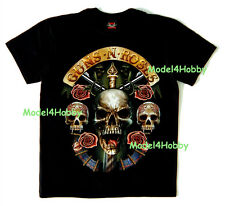 GUNS N' ROSES T-Shirt Black Sz M L XL BAND PUNK ROCK HM SKULL GUN FLOWER TATTOO