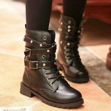 Womens Combat Ankle Boot Strap Motorcycle riding Military Army Tactics New black