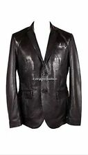 MENS CLASSIC BLAZER 2 button Black millano Bufflow LONG LIFE Real Leather Jacket