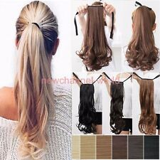 real thick blonde tie up Ponytail Pony tail Clip In human Hair Extension black