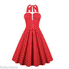 Vintage Womens 50s Rockabilly Housewife Polka Dot Pinup Party Swing Skater Dress