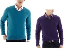 Claiborne Mens Sweater Solid Cotton Cashmere V-Neck Long Sleeves size XXL NEW