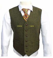 MENS WOOL BROWN TWEED WAISTCOAT VEST DONEGAL STYLE SIZE S M L XL XXL XXXL  XXXXL