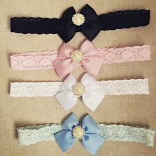 Butterfly Bow pearl Lace Band Newborn Toddler Baby Headbands christening + lot
