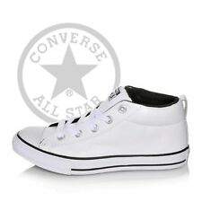 White Converse All Star Leather Street Mid LEA Mens Sneakers / Women Shoes