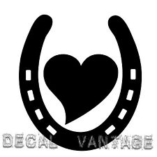 Horseshoe Heart Vinyl Sticker Decal Luck Horse Shoe  Choose Size & Color