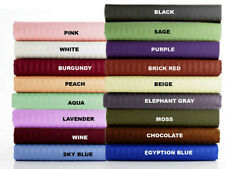 Luxury 800-1000-1200TC 4pc Sheet Set Striped 15 Color 100% Egyptian Cotton