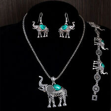 Antique Silver Plated Necklace Bracelets Earring Elephant Turquoise Jewelrys Set