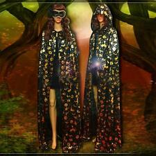 New Halloween Costume Gothic Hooded Cloak Pumpkin Robe Medieval Witchcraft Cape