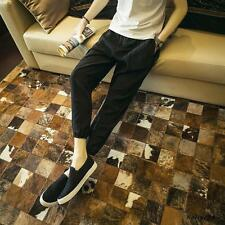 Fashion Mens leisure party newly linen blend cropped pants comfy Harem trousers