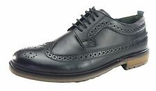Silver Street Fenchurch Mens 5 Eye Lace Up Mens Brogue Shoes Black