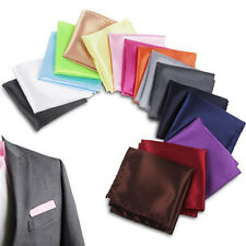 Male Satin Solid Plain Color Handkerchief Hanky Pocket Square Wedding Suit Party