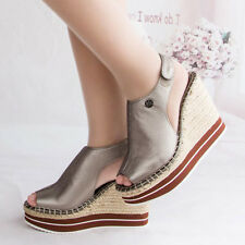 WOMEN SHOES DESIGNER TEXTURED METALLIC SILVER WOVEN PLATFORM WEDGE HEEL SANDAL
