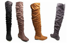 Ladies Womens Taupe Slouch Over The Knee Boots Shoes Flat Heel Suede Long UK 3-8