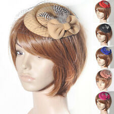 Women Pillbox Hat Bowknot Hair Clip Feather Ascot Weddings Proms Derby Accessory