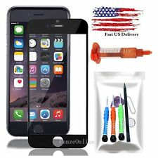 Replacement Front Screen Glass Lens for iPhone 6 6S Plus Tools Kit/UV Glue Black