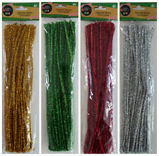 New CHRISTMAS GLITTER CHENILLE STEMS Metallic Tinsel Pipe Cleaners 45 Stems/Pk