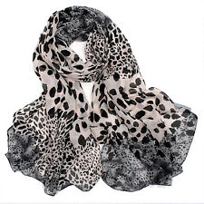 Women Leopard Long Soft Chiffon Cotton Scarf Wrap Lady Shawl Girl Stole Scarves