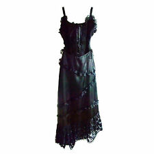 "Gothic Dress by ""Raven"" with Diagonal Lace Trimmed Skirt & Hemline (was )"